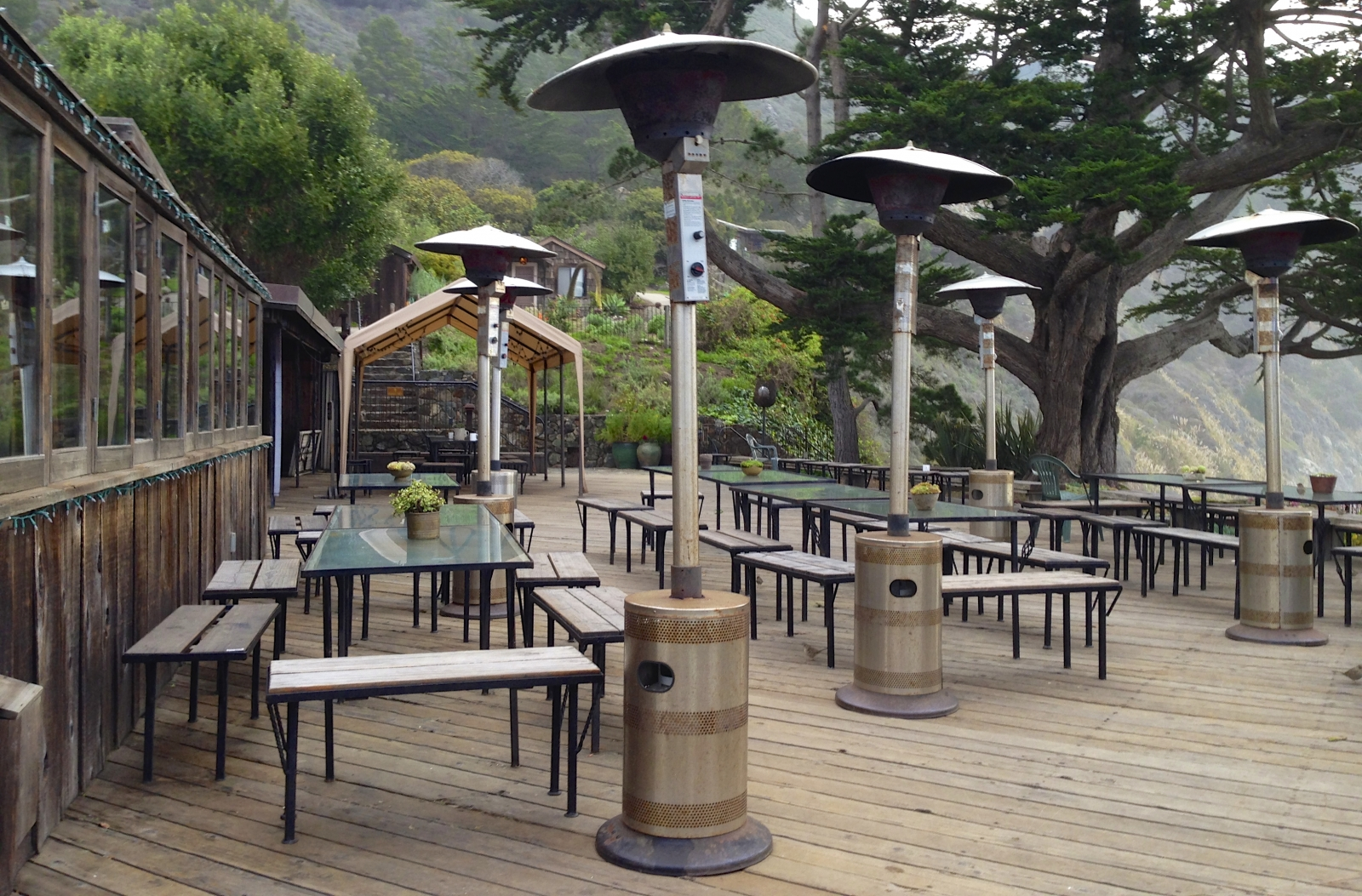 Esalen Color lodge deck with hatted heaters.