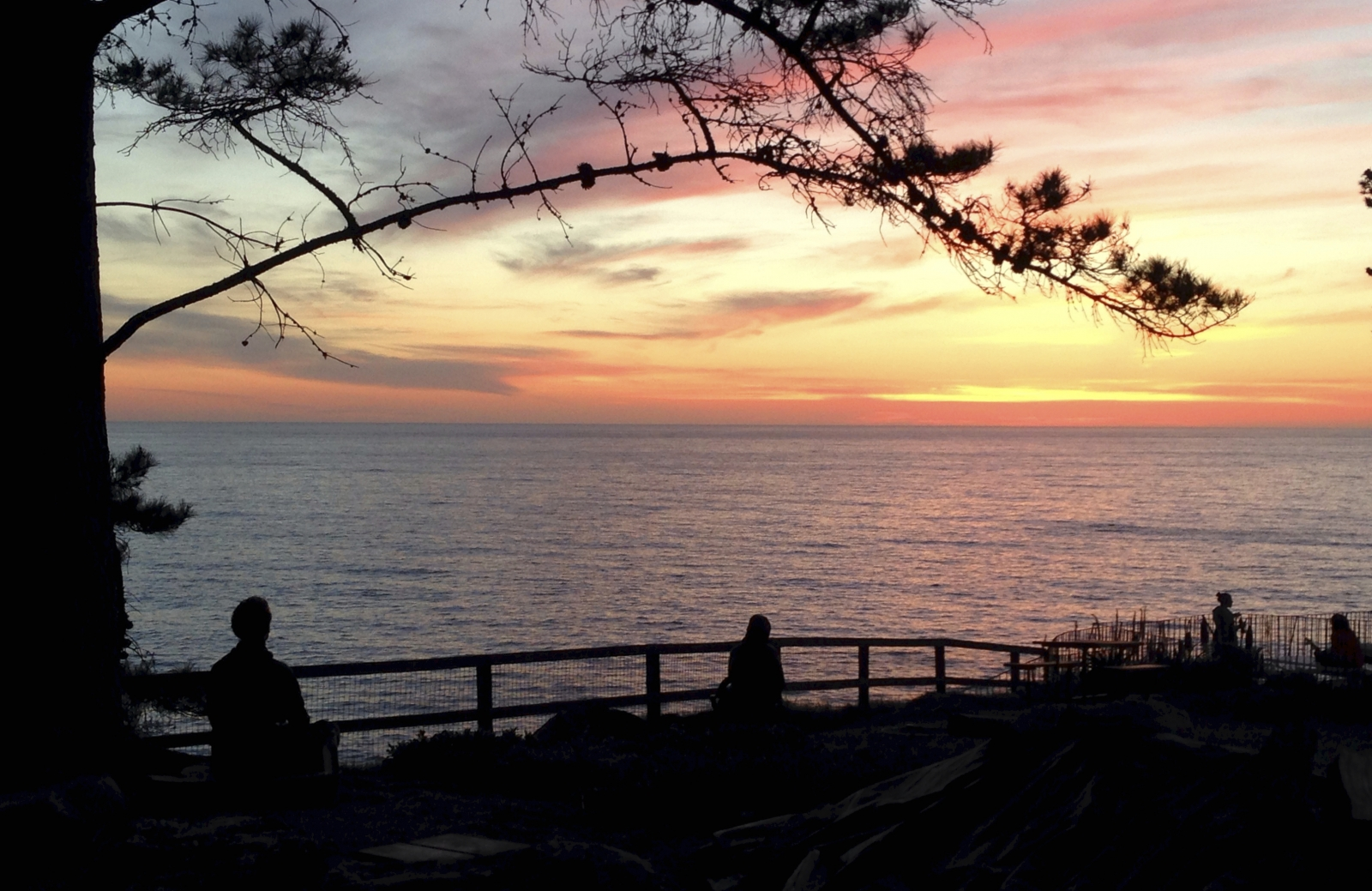 Esalen Meditators at Sunset