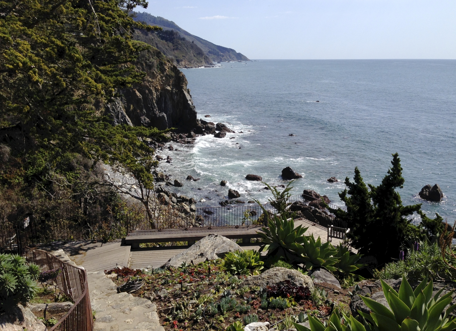 "Esalen with gate to the ""closed"" steps to the sea."
