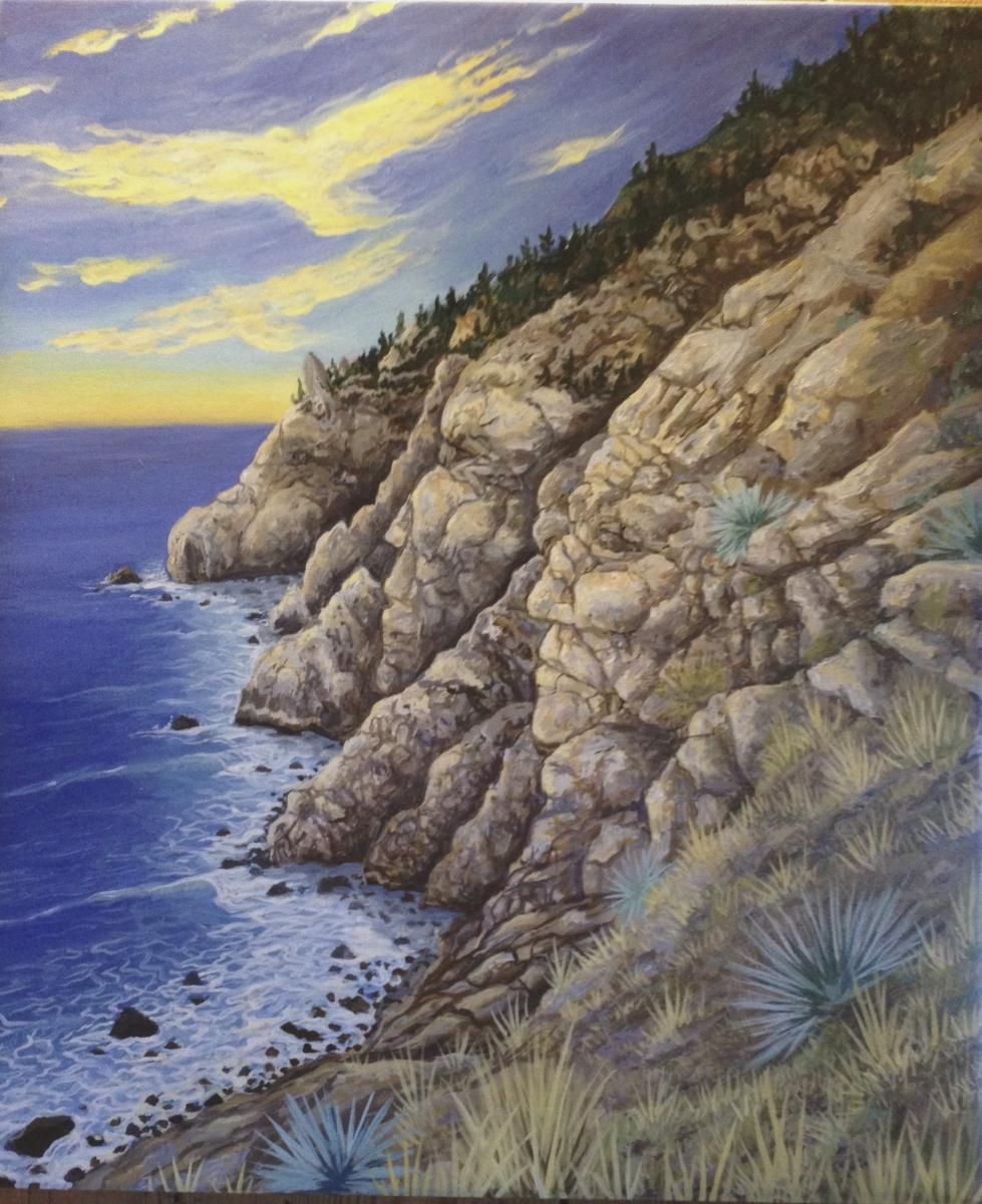 Esalen Art. Cliffs, Sea, Faces, Eagles.