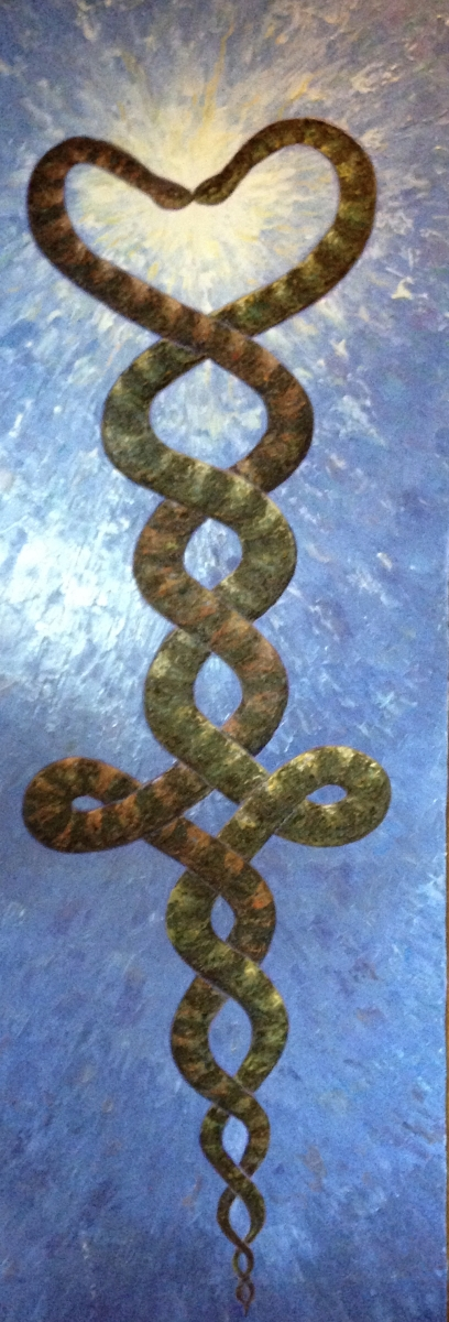 Esalen Art. Snakes, entwined, heart, glowing together.