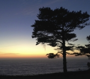 Esalen sunset with meteorite crashing into the sea.