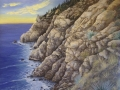 Esalen Art. Cliffs, Sea, Faces, Eagles.
