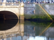 Crowded People, Bridge, River, Reflections. Dublin.