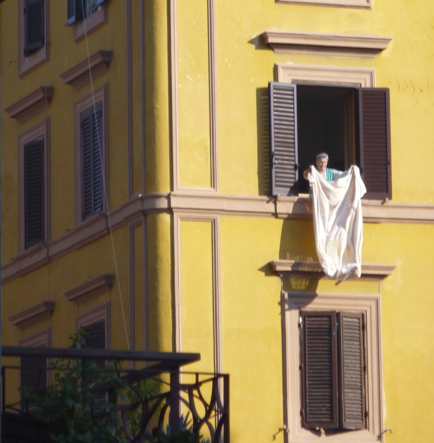 Woman, Window, airing sheet, early morning sun, Waiting in Line Vatican Museum Laundry