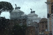 """Wedding Cake"" Rome Monument to Vittorio Emanuele ll through bus windishield"