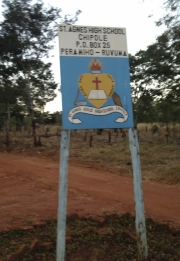 Sign for St. Agnes GIrls HS in Chipole Tanzania.